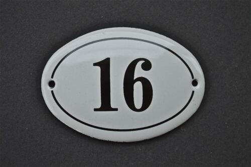 ANTIQUE STYLE SMALL OVAL NUMBER 16 DOOR NUMBER PLAQUE SIGN ENAMEL ON METAL