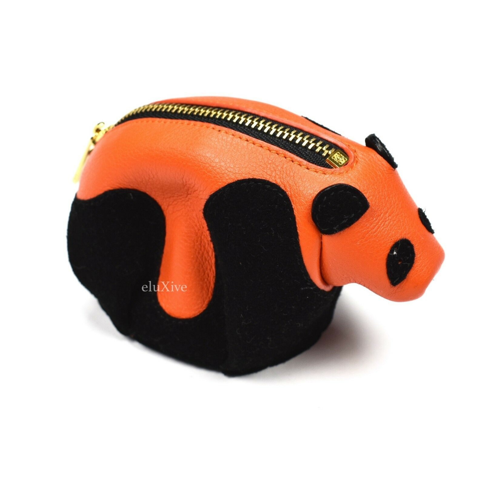 NWT Loewe Womens Orange Black Panda Bear Leather Coin Purse Pouch AUTHENTIC