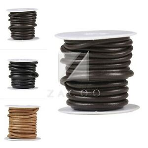 HOT-1-Wheel-5M-Real-Round-Leather-Cord-Thong-DIY-Jewelry-Bracelet-Making-4-5-6mm