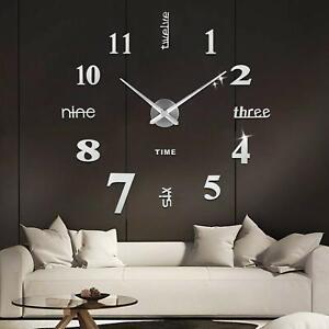 Orologio Da Parete 3d Adesivo Moderno Grande Muro Decorazione Casa Ufficio Hotel Ebay