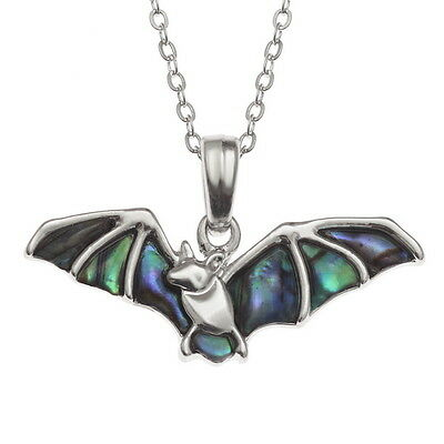 Blue Green Abalone / Paua Shell Bat Pendant Silver Chain Necklace