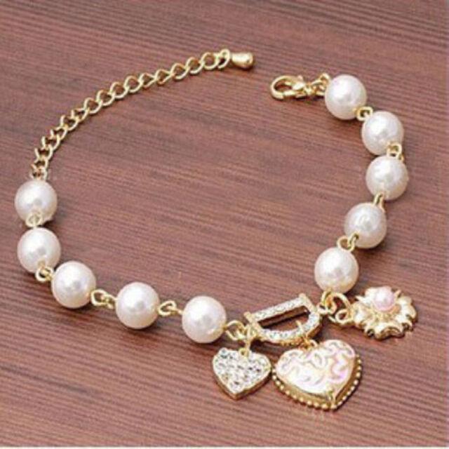 1pcs Women Pearl Love Heart Flower Crystal Bracelet Bangle Fashion Jewelry