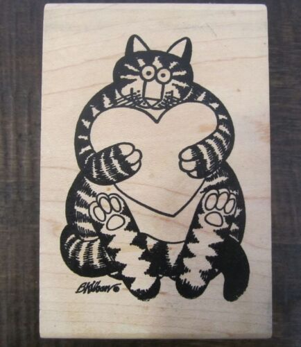 American Art Stamp Kliban Cat rubber stamp holding a heart BK0241150 rare htf