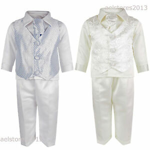 14b400d7c9c5e Baby Boys 4pc Suit 0m18m Page Christening Wedding Romper Paisley ...