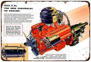 1955-Chevrolet-V-8-Engine-Vintage-Rustic-Retro-Metal-Sign-8-034-x-12-034