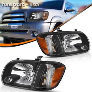for 2005 2006 Toyota Tundra 05-07 Sequoia Headlights Headlamps+Corner Lamps PAIR