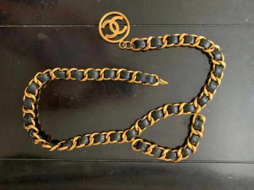 CHANEL gold chain belt with black leather