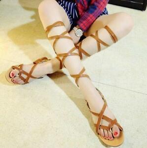 Womens Tall Calf Knee High Leg Ladies Flat Strappy Gladiator Sandals Shoes US10