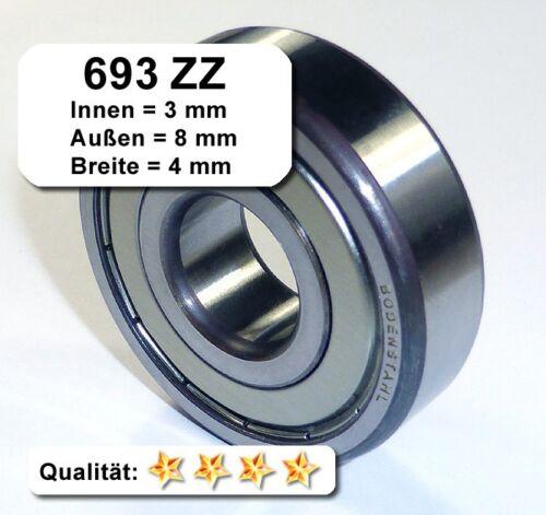 Kugellager 3*8*4mm Da=8mm Di=3mm Breite=4mm 693ZZ Radiallager 4 Stk