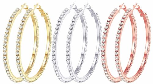 Cocadant 3 Pairs 50mm Big Hoop Earrings 18K Gold Plated Rose Gold Plated Silv...