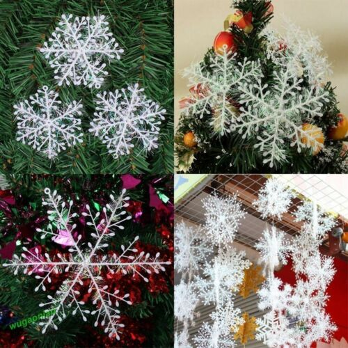 15//30Pcs Classic White Snowflake Ornaments Christmas Holiday Party Home Decor