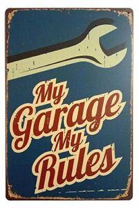 My-Garage-My-Rules-Retro-Vintage-Decor-Metal-Tin-Sign-Fun-Garage-Sign