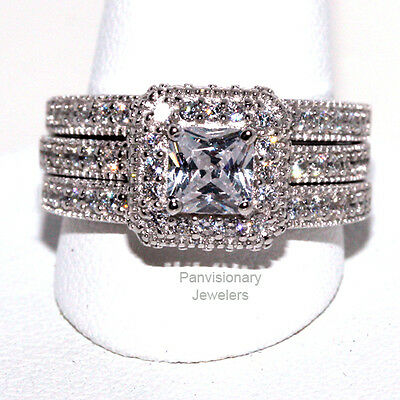 Private Listing for atomandeve14       Princess Cut 3 Ring Set Halo 925 5mm CZ