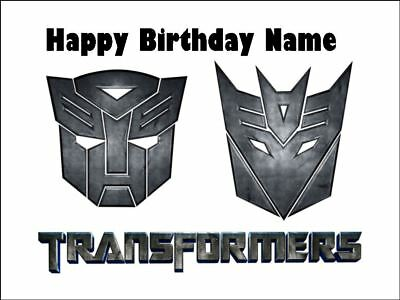 TRANSFORMERS A4 Edible Icing Birthday Cake Party Decoration Topper #1