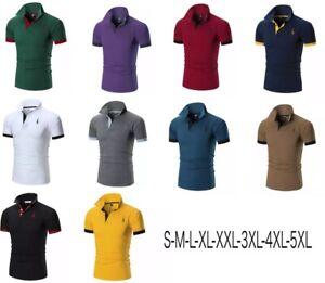 Polo-manica-corta-casual-T-Shirt-Maglietta-fino-alla-5XL-Uomo
