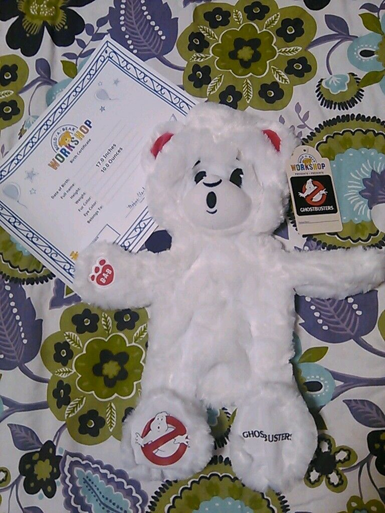 New Ghostbusters BABW 17  blancoo Limited Build a Bear Plush UnStuffed Certificate