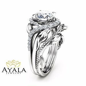 image is loading forever one moissanite engagement ring 14k white gold - Nature Inspired Wedding Rings