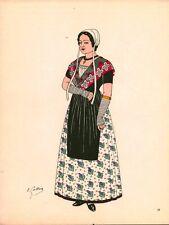 Gravure d'Emile Gallois costume des provinces françaises 1950 Comtat-Venaissin