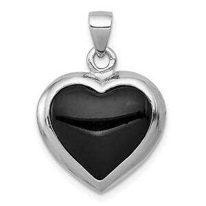 Sterling-Silver-Onyx-amp-Mother-Of-Pearl-Reversible-Heart-Pendant-QP194VJ6588