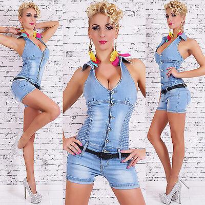 Women's Halter Denim Jeans Short Romper Overall + Belt - size L (US 8)