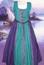 Medieval Gown SCA Garb Renaissance Costume Tudor PurpleTeal FrtLcg Ensemble LXL