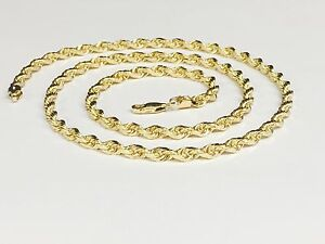 Image Is Loading 18kt Solid Gold Diamond Cut Rope Chain Necklace