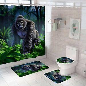Chimpanzee-Bathroom-Rug-Set-Shower-Curtain-Thick-Soft-Toilet-Lid-Cover-Bath-Mat