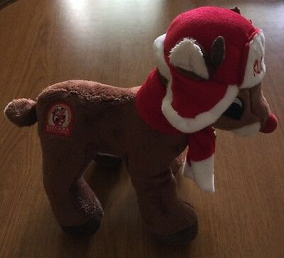 """New Rudolph Stuffed Plush Reindeer Hat Scarf Red Nosed 12/"""" 50th Anniversary 2014"""