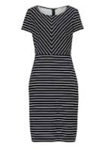 Betty-Barclay-Striped-Navy-White-Dress-Women-Ladies-Short-Sleeves-Size-16-REF61