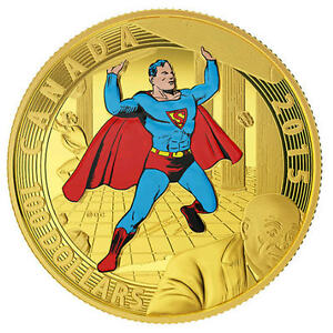 NO-TAX-2015-Canada-100-Gold-Coin-Iconic-Superman-Covers-1940-RCM