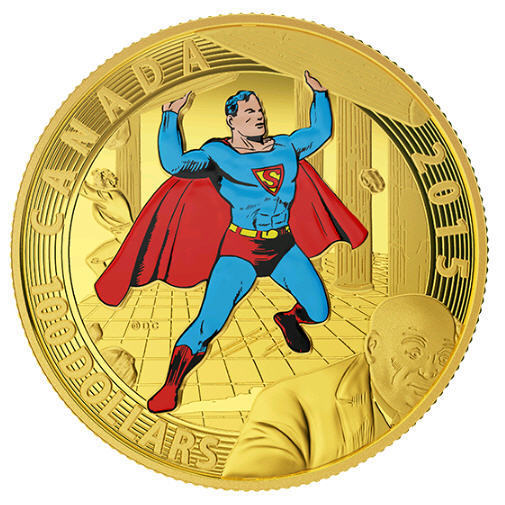 NO TAX 2015 Canada $100 Gold Coin Iconic Superman Covers 1940 RCM