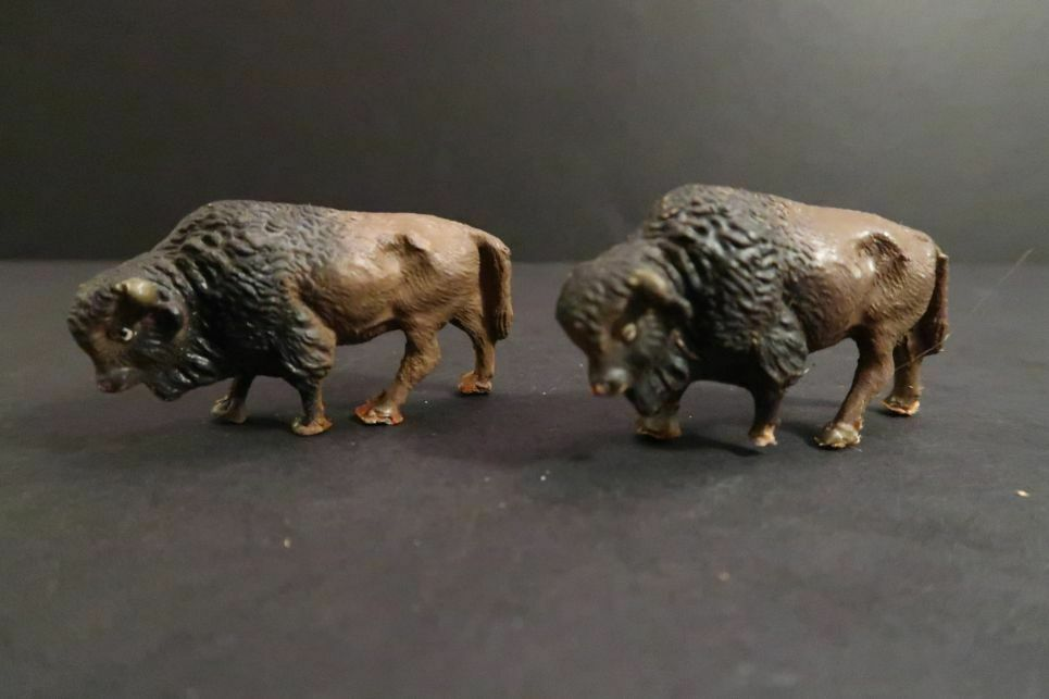 Antique Lot of 2 BUFFALOS Wild Animals Zoo Composition Made in Austria
