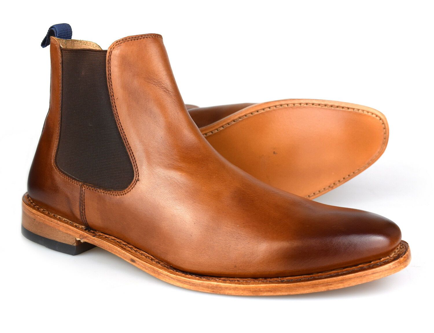 Premium Goodyear Welted Mens Tan Leather Chelsea Boots 162T Free UK P&P