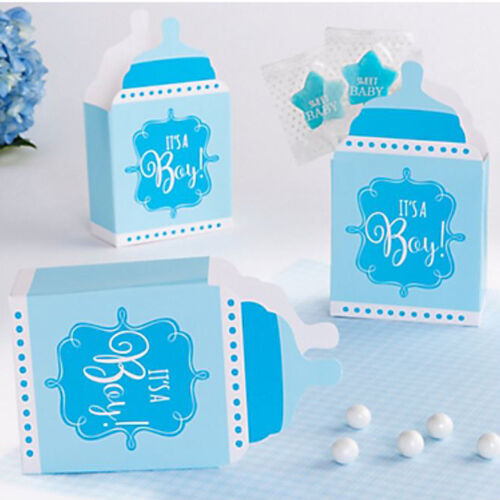 24 BABY SHOWER It/'s a Boy BOTTLE SHAPED FAVOR BOXES ~ Party Supplies Treat