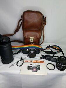Vintage-Pentax-MUE-Super-35MM-Film-Camera-W-Brown-Leather-Case-and-Lens-Bundle