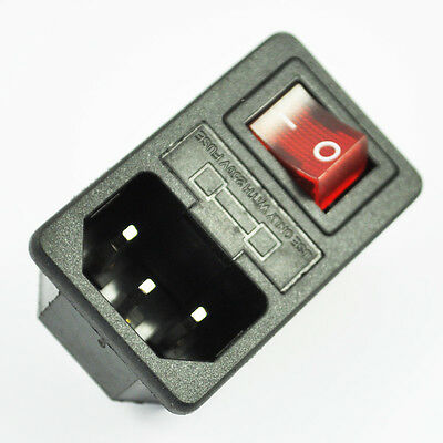 SODIAL(R) Inlet Male Power Socket with Fuse Switch 10A 250V 3 Pin IEC320 C14 DT