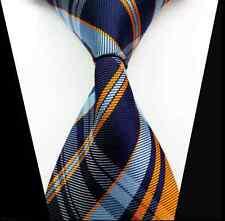 Classic Blue Orange Check 100%Silk Jacquard Woven Necktie Mens Tie HS