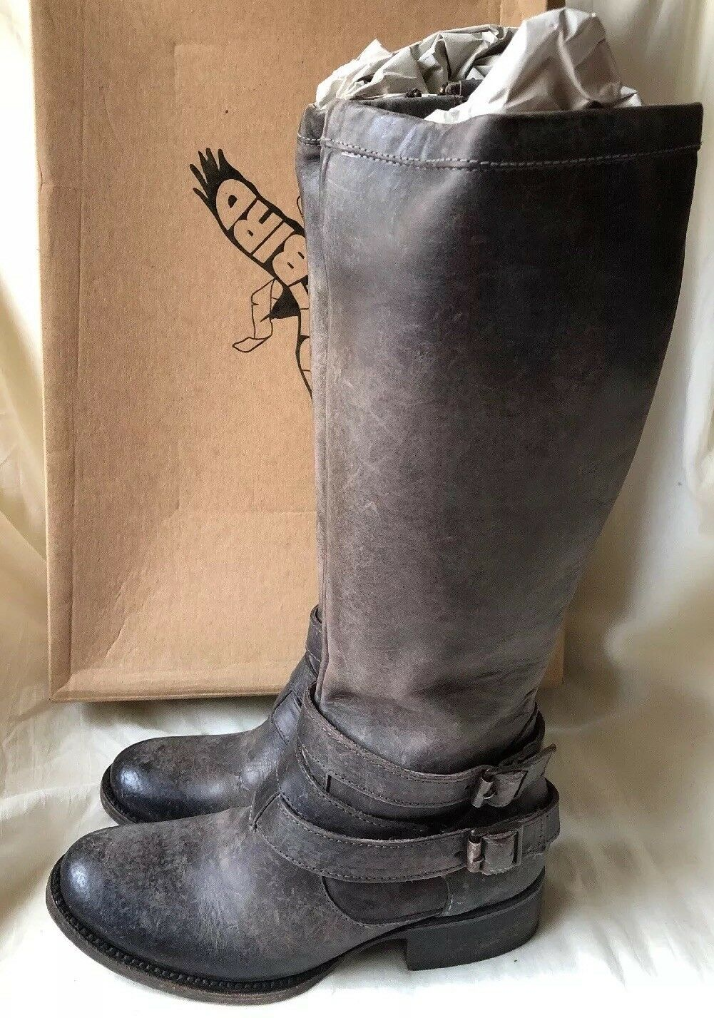 Freebird By Steven Irish Heavily Distressed Stone Knee High Leather Boots 6