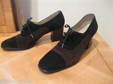 Classy Elegant Gorgeous Salvatore Ferragamo Black/Brown Suede Oxford shoes s:38