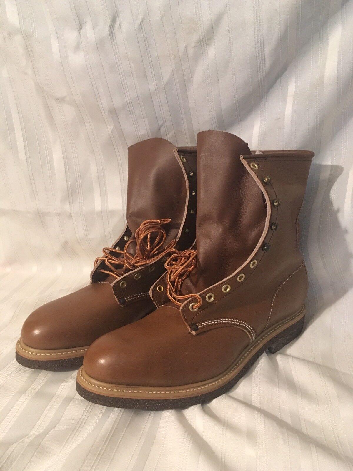 Vtg Hytest High Ankle braun Work Stiefel Steel Toe Sz 9.5 New Old Stock