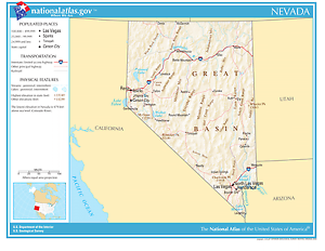 Nevada State Reference Laminated Wall Map