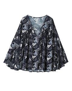 SIMPLY-BE-70-039-s-BOHO-GYPSY-TOP-Blue-Paisley-Print-Tunic-Blouse-UK-14-42-NEW