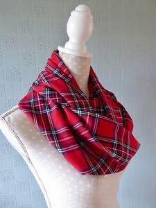 rouge à carreaux boucle écharpe Tartan Rouge Infinity écharpe Royal Stewart Tartan Fleece