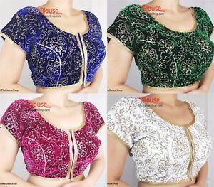 Saree-Blouse-New-Readymade-Designer-Velvet-Sari-Choli-Indian-Party-Wear-Dress
