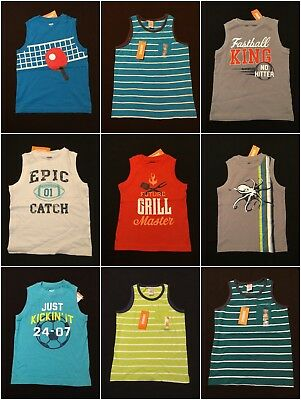 NWT Gymboree Boys Graphic Tank Top Selection Size 4 5 6 7 8 /& 10