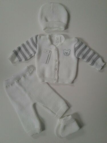 Baby boys girls clothes 4 piece knitted teddy layette set 0-3 months
