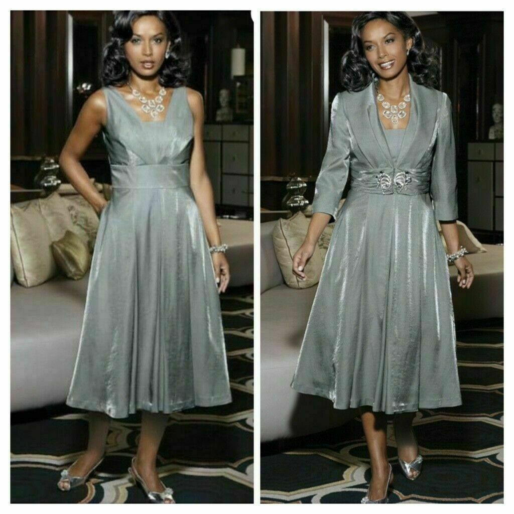 Midnight Velvet Elegant Jacket Dress Silver Mother of the Bride Holiday 22W