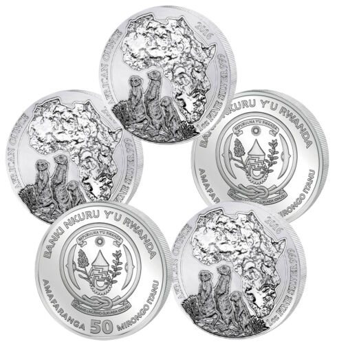 BU, Lot of 5 5 oz Total .999 2016 1 oz Rwandan Meerkat Silver Coin