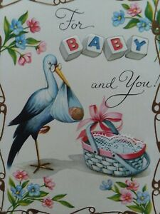1950s-Vtg-STORK-w-LACE-Trim-BASKET-For-BABY-Congrats-Sterling-GREETING-CARD