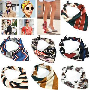 Women-Girl-Square-Silk-Feel-Satin-Scarf-Skinny-Retro-Head-Neck-Hair-Tie-Band